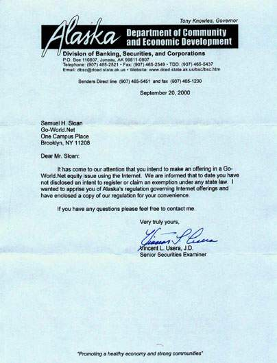 Letter from Letter from Alaska Division of Banking, Securities, and Corporations