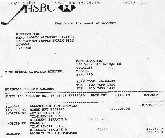 Bank statement showing funds going out