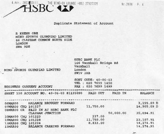 Bank statement showing funds coming in