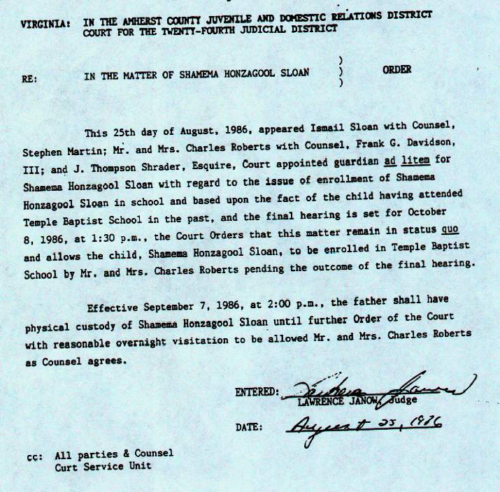Judge Janow's Order dated 8-25-86