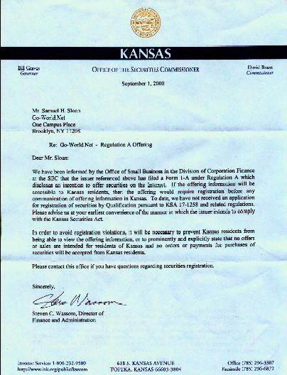 First Letter from Kansas - Office of the Securities Commissioner