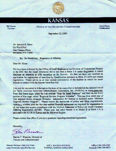 Second Letter from Kansas - Office of the Securities Commissioner