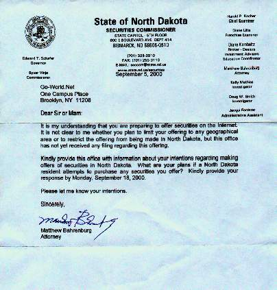 Letter from North Dakota Securities Commissioner