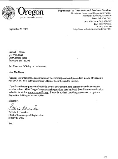 Letter from Oregon Division of Finance and Corporate Securities