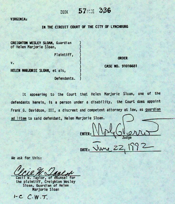 Order appointing Frank G. Davidson as Guardian ad litem for Helen Marjorie Sloan