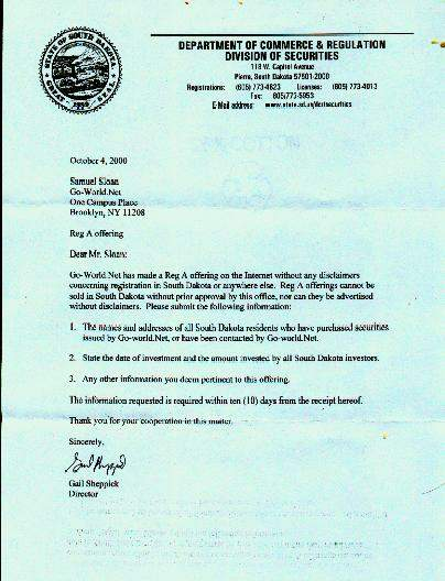 Letter from South Dakota Division of Securities