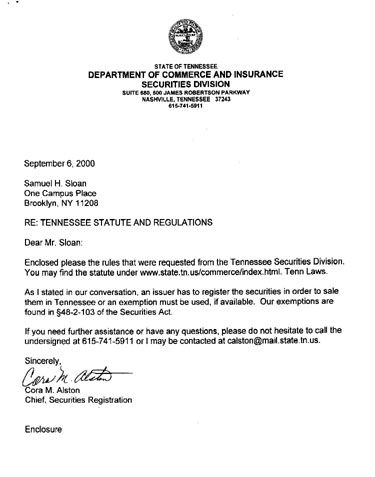 Letter from Tennessee Department of Securities