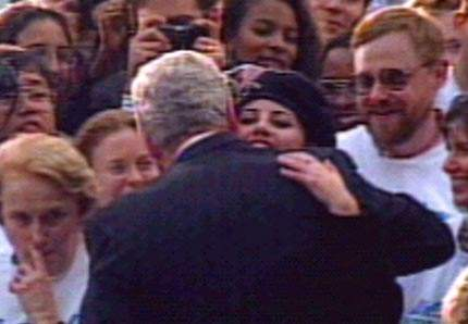 monica lewinsky and bill clinton. hugging Monica Lewinsky